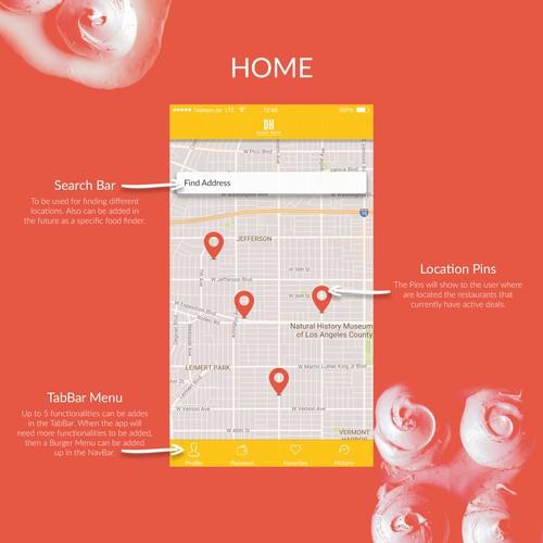 Mobile app design for a food ordering app