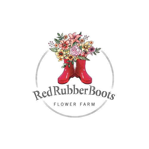 Red Rubber Boots Flower Farm Logo