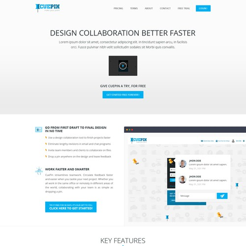 RESPONSIVE HOME PAGE - Design Collaboration App