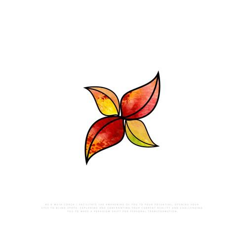 Create a transformational leaf logo for Red Leaf Studio