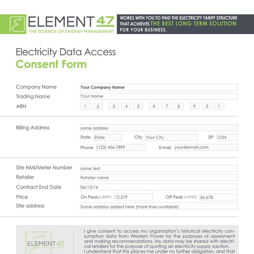 Design a Client Consent Form in editable PDF