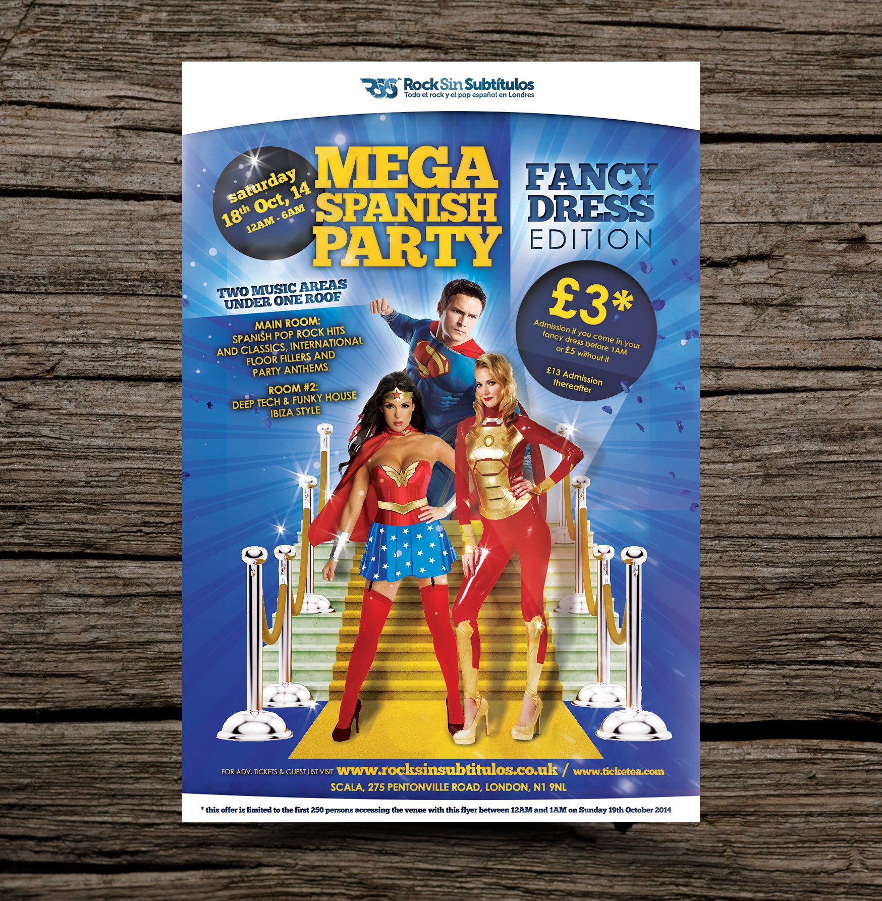 URGENT Colorful A6 Flyer design needed for a Fancy dress club night in London (72 Hours)