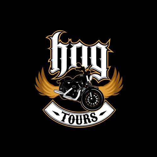 "Design Concept for ""Hog Tours"" Motorcycle Tour Company"