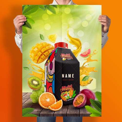 Dynamic poster design for Fruit Juice ads