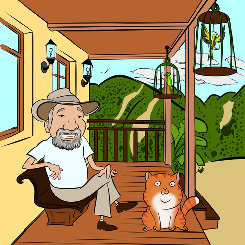 OLD MAN AND GINGER FAT CAT