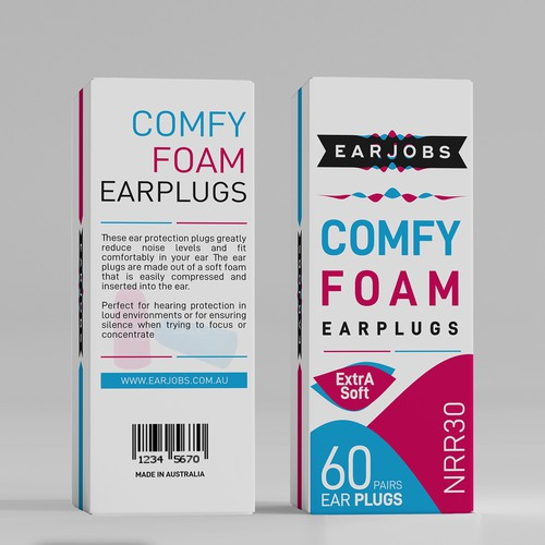 Comfy Foam Earplugs Packaging Design