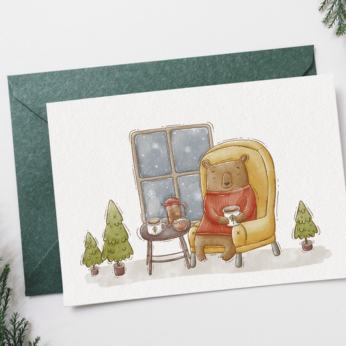 Festive Seasonal Illustrated Card