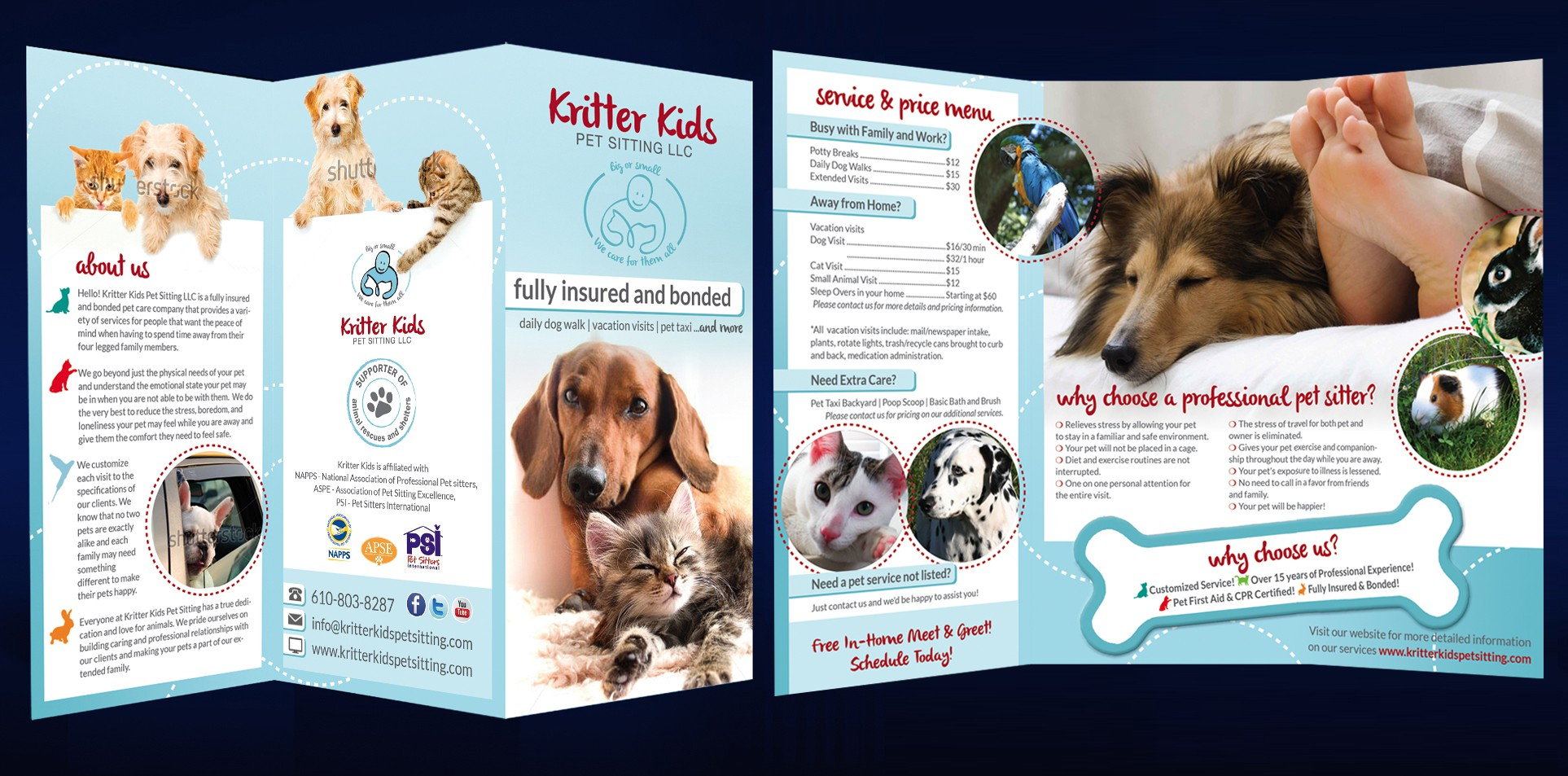 Who loves pets? Help Kritter Kids Pet Sitting blow the competion away with a brilliant brochure!