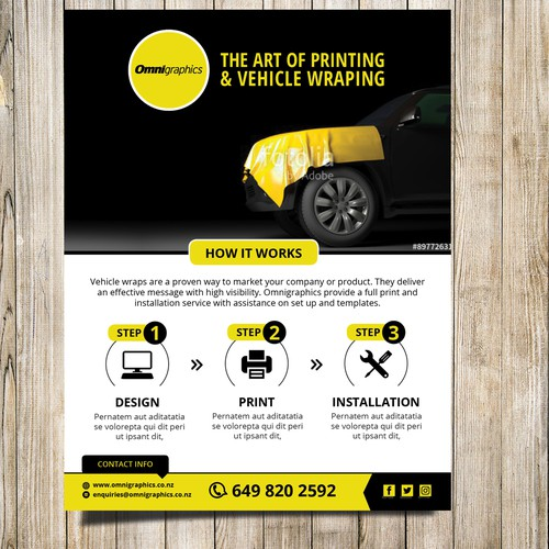 Flyer for printing and vehicle wrapping