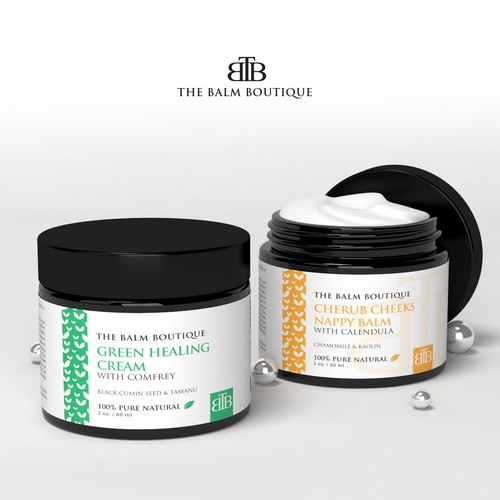 Glamorous Product Label for a 100% Natural Skincare Range