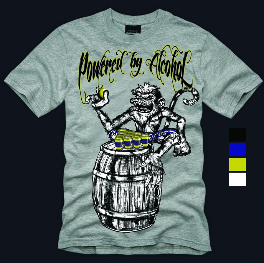 Create the next t-shirt design for Powered By Alcohol