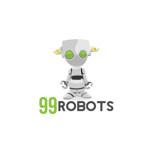 Cute robot mascot logo design