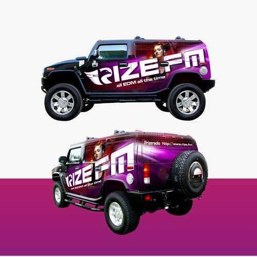 Create an HUMMER H2 Vehicle Wrap For EDM Radio Station