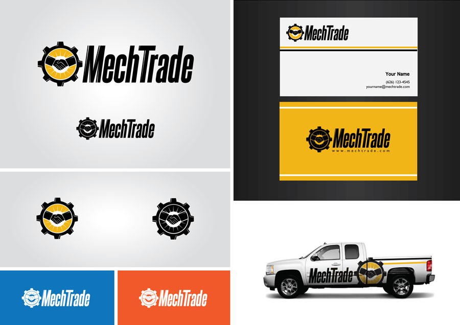 Create the next logo and business card for MECHTRADE
