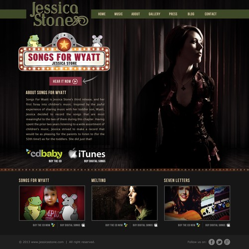 Create the next website design for Jessica Stone, Music Artist
