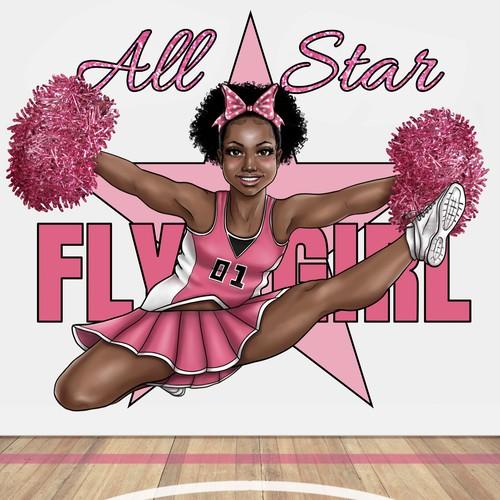Cheerleader Illustration for Student Folder