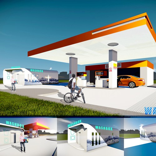Create a fresh, eye-catching illustration of a laundromat add-on to a Petrol Filling Station
