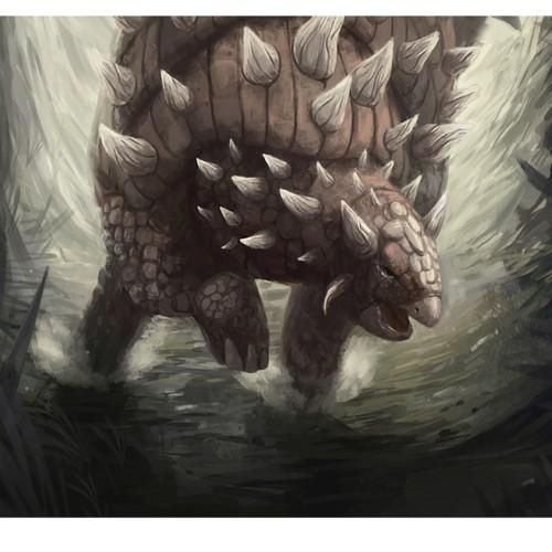 Illustrate an epic Ankylosaurus dinosaur