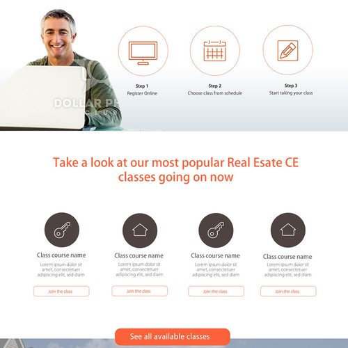 Landing page for a new real estate school.