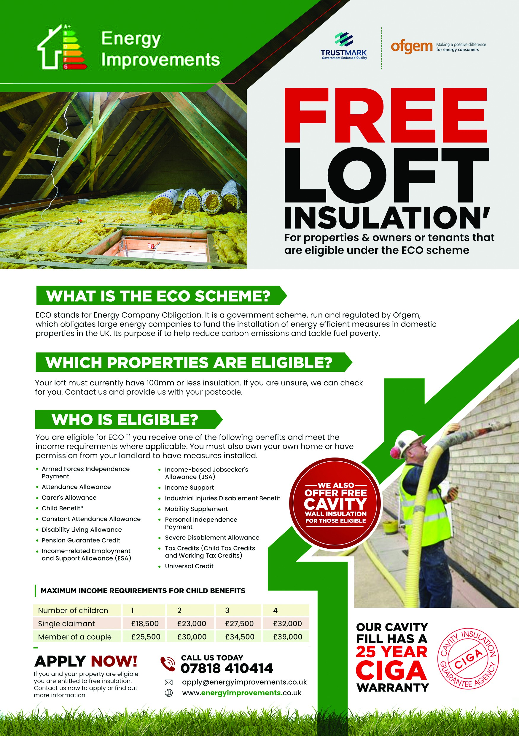 Flyer for free loft insulation