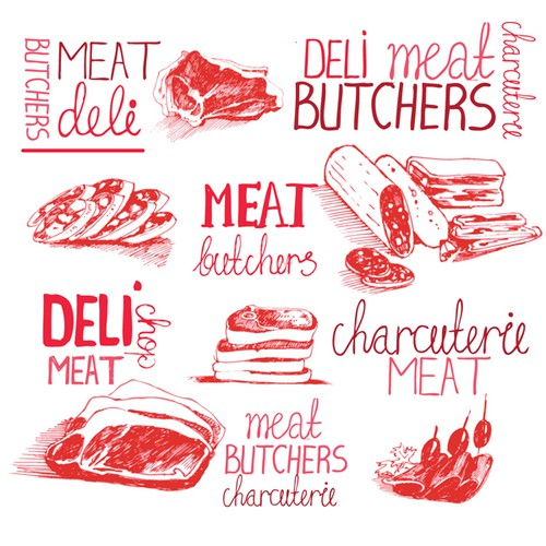 Create a luxurious illustration to be used on packaging for a butcher