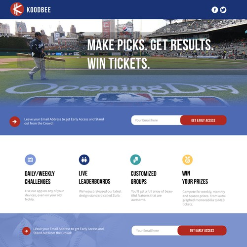 Landing page for koodbee