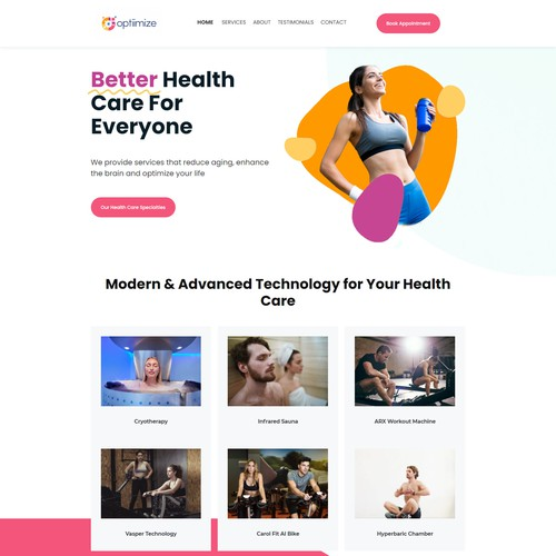 Website for an innovative health care center