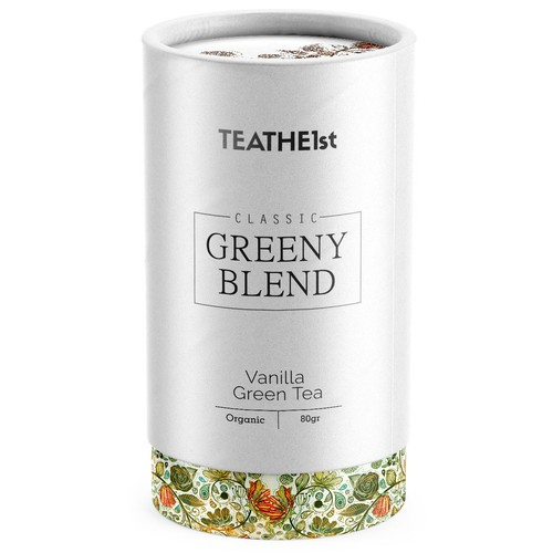 Design a paper tube packaging for TEATHE1st