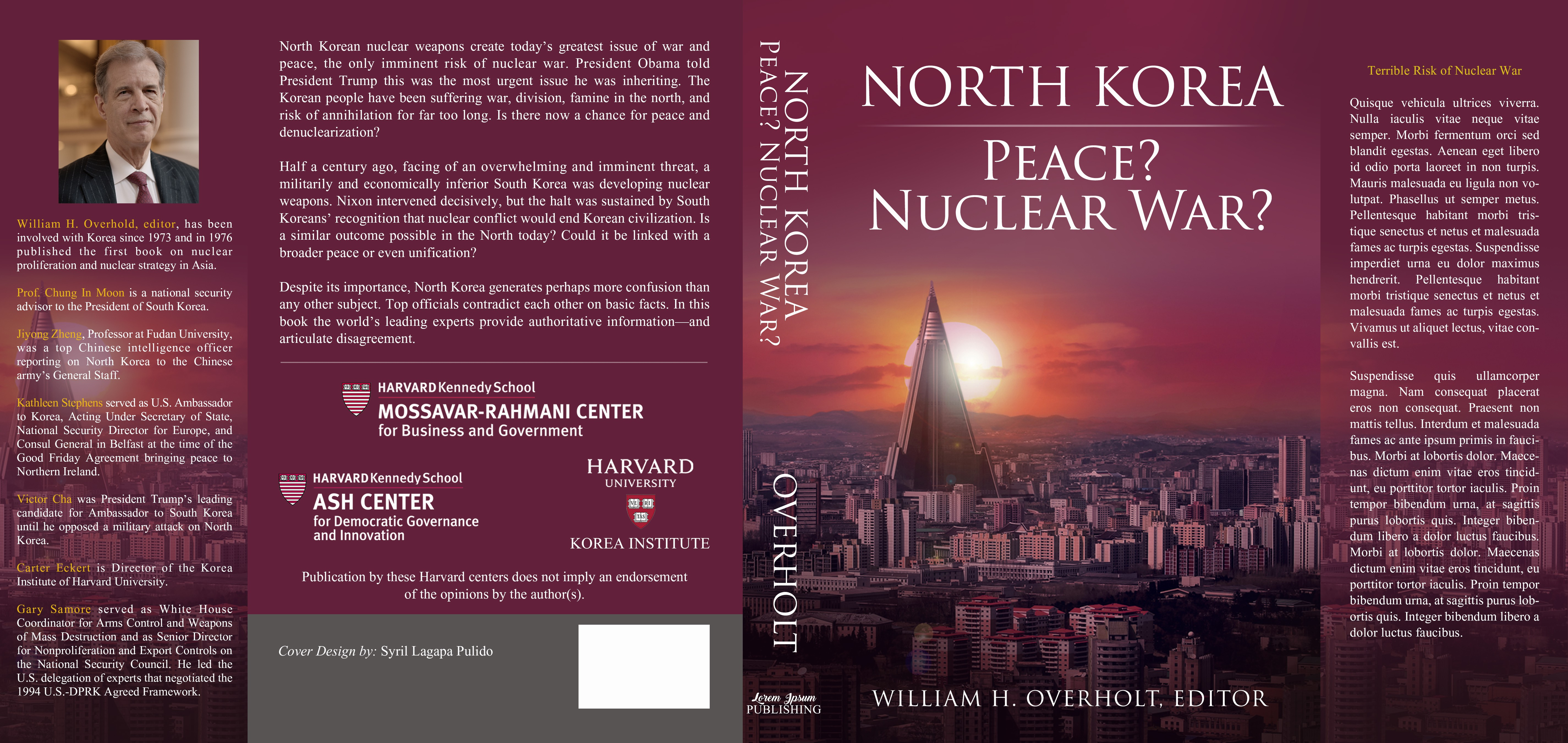 Create powerful book cover for avoiding war in North Korea