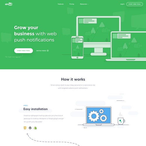 Illustrated design for SaaS website
