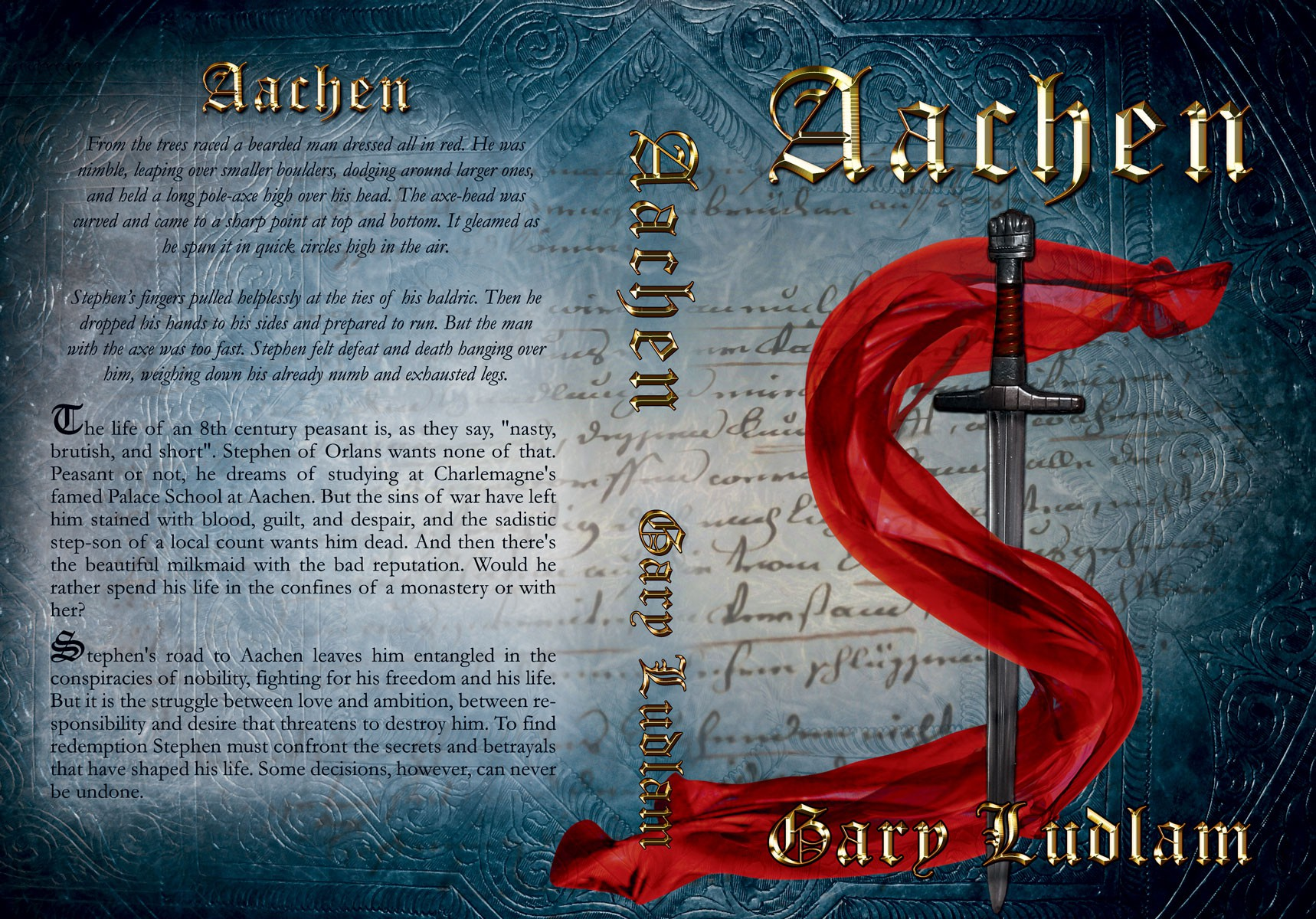 Create a compelling book cover for Aachen, a novel of young adult medieval historical fiction.