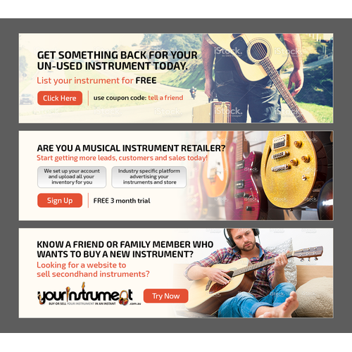 Create a series of 3 homepage banner ads for yourinstrument.com.au. A new and exciting start up!