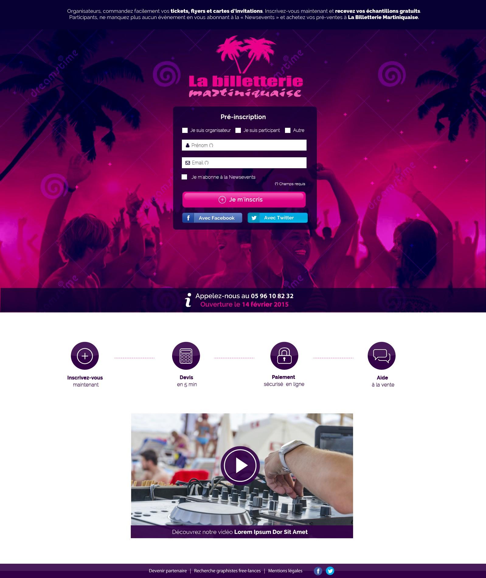 Créer une landing page pour la Billetterie Martiniquaise