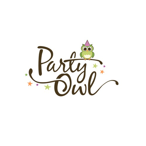 Create a modern, fun mascot and logo for Party Owl
