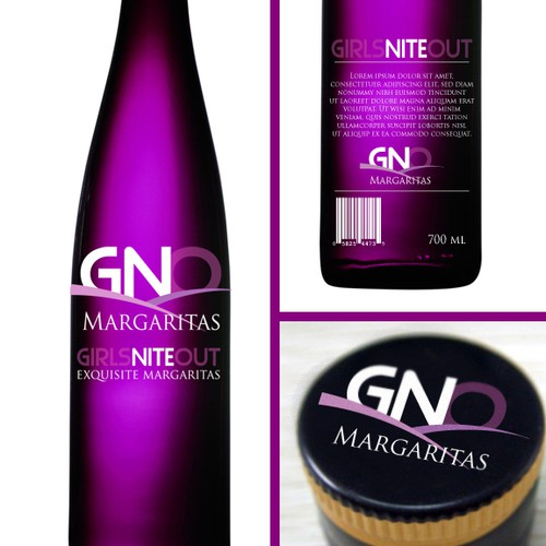 Create the next product label for GNO Margaritas, which stands for Girls Nite Out