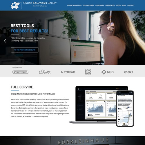 Homepage design for Online Solutions Group GmbH