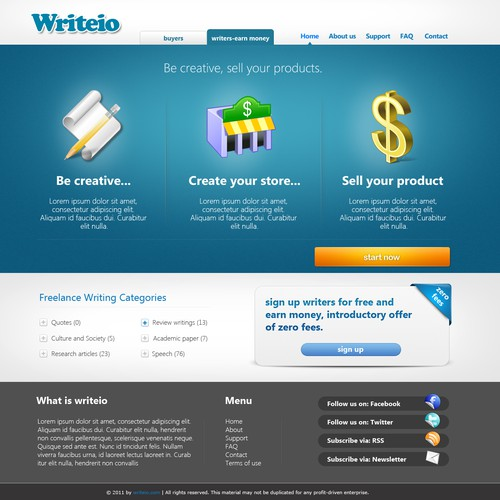 Home page for writeio - a new marketplace for writers