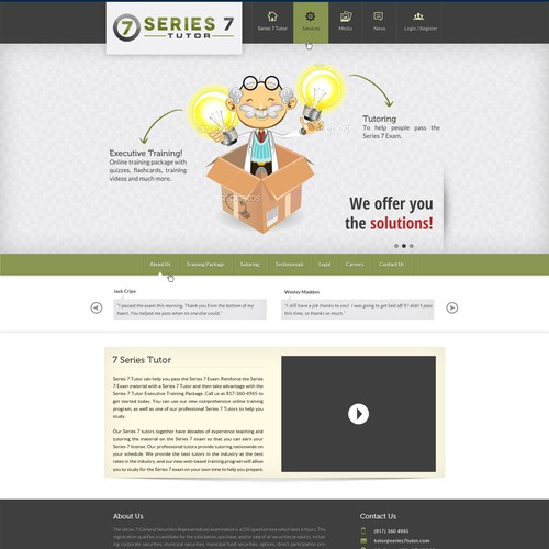 Website Design for Series 7 Tutor