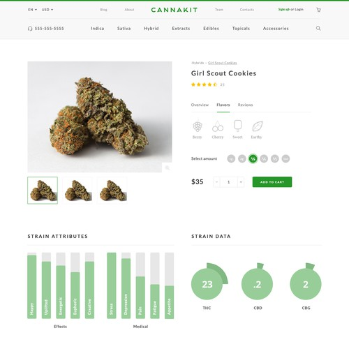 Product Page design for Dispensary Website