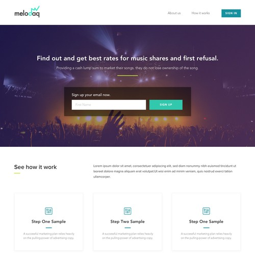 Landing Page for Music Startup