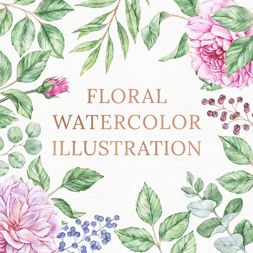 Floral watercolor illustration example