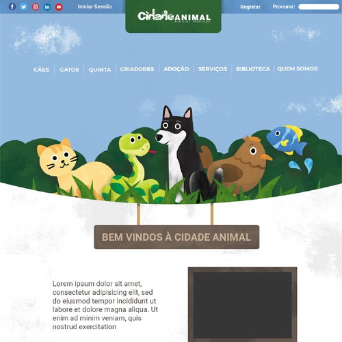 Fun Animal Web Design focused on Illustration