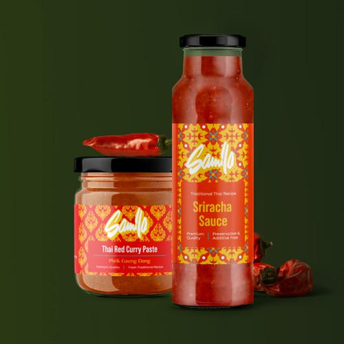 Curry and Hot Sauce Label Designs