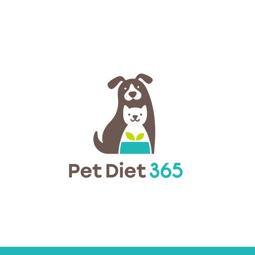 Clean + simple dog and cat logo for a pet diet brand