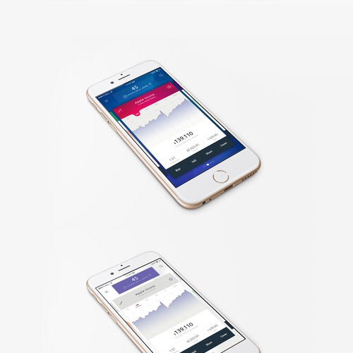 Stock mobile app graph design concept