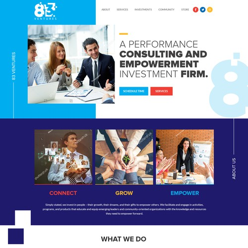 Website design for 83 ventures