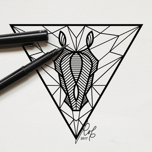 A tattoo design horse geometric pattern