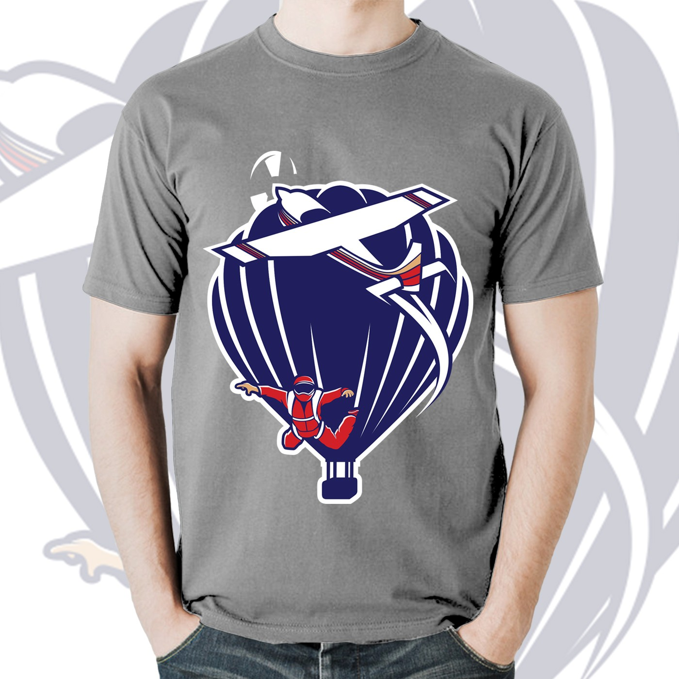 Multi-aviation logo for skydiving airplane and hot air balloon