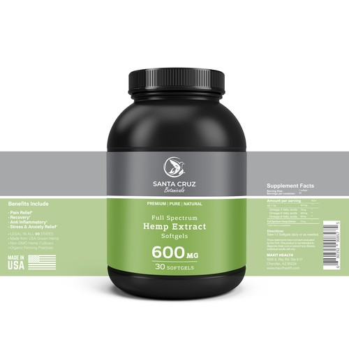 Natural Hemp Extract Product Label