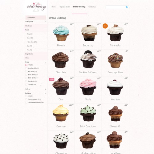 website design for cupcake business, Sixteen Frostings